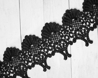 1m lace ornaments 8cm black costume fashion Gothic lace wide around waves polyester
