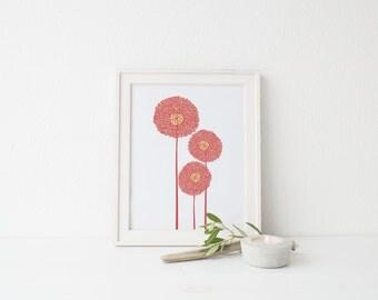 Flower wall print, nursery wall print, 8x10 wall print, Printable print poster, Printable Wall Art, Instant Download Wall Print, 11x14 print