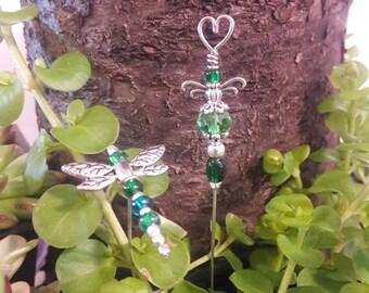 Fairy Garden stakes - Miniature garden - Dragonfly / Angel  - Green