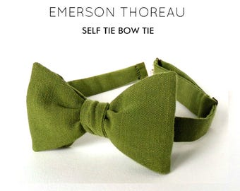 Moss Linen Bow Tie / Self Tie Greenery Pine Natural Bowtie Butterfly Freestyle Adjustable Forest Green Spring Wedding Solid Tie Gift for Him