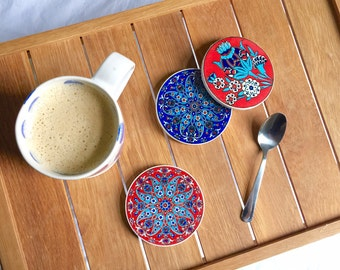 Set of 4 Ceramic Coasters - Blue/Red