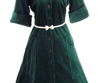Vintage 60s does 50s Mad Men Pin UP Tea Dress Green Cotton Cord Size UK 12 US 10