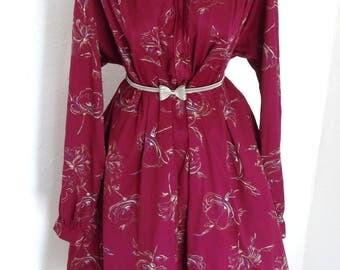 Vintage 80s does 50s Mad Men Pin UP A Line Tea Dress Floral patern Size XXL