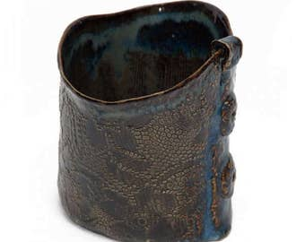 Brown Ceramic Vase with Blue Accents