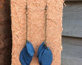 Handmade Blue Leaf and Petal Shaped Earrings made from Handmade Paper