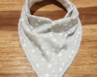 Grey and White Star Print Baby Bandana Bib