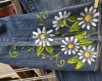 Hand Painted Jeans Daisy