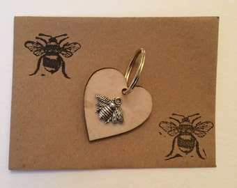 Set of two bumble bee keyrings