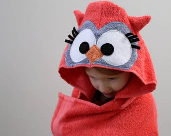 Adult Owl Hooded Towel / XL Adult Hooded Towel / Extra Large Hooded Towels / Woodland Animal Hooded Towel / Easter gift / Birthday Gift