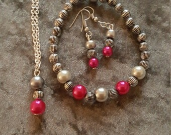 hot pink jewellery set