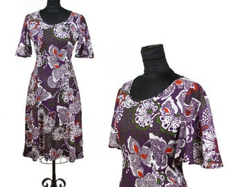 1970s Dress // Purple Psychedelic Floral Mini Dress with Angelic Bell Sleeves