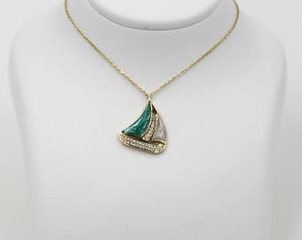 14k Yellow Gold Catboat Necklace, Boat Necklace with White Sapphire and Green Enamel, Marine Themed Necklace