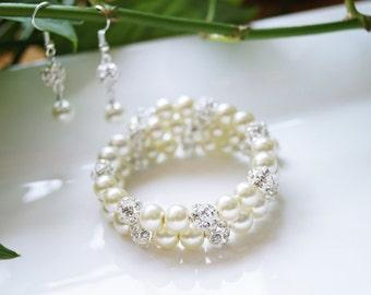 Pearl & Pave Crystal/Rhinestone Bridal, Bridesmaid, or Flower Girl Wedding/Prom Bracelet and Earring Set