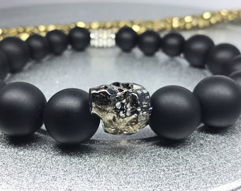 Men Skull Bracelet. Swarovski Crystal Skull Black Patina / Matte Black Onyx Yoga Mala Beaded Bracelet. Healing Natural Gemstone Bracelet.