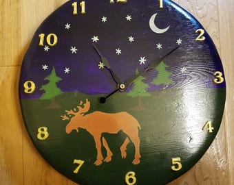 Wood Moose Clock, Handmade Wall Clock, Personalized hand painted rustic clock, LifeWood