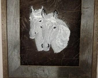 western art,framed western art,wall decor,horse heads