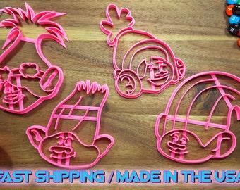 Trolls Princess Poppy, Branch, Creek, and DJ Suki Cookie Cutters. Throw a Trolls themed kid's party or birthdays with custom cookies!