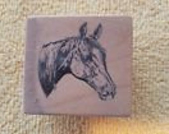 NEW Horse Head Rubber Stamp Wood Mounted
