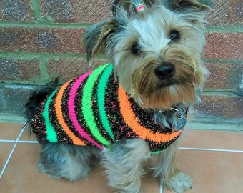 Dog jumper Neon Stripe Made To Measure Dog Jumper/Sweater With Harness Hole