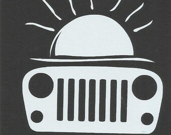 Sun Chaser Chasing Jeep Vinyl Vehicle Decal