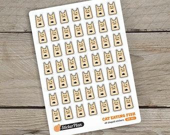 49 CAT eating fish colour stickers, cute stickers, planner stickers, kawai stickers, Happy Planner, Erin Condren, Filofax (SPK-001)