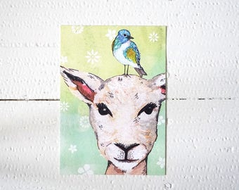Lovely greeting card with lamb and bird (Postcard, animal)