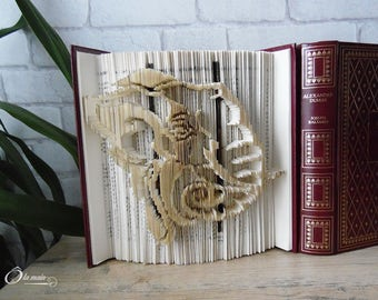 """Book Art """"Pachiderme"""" - decorative object from a book - Collection A open book"""