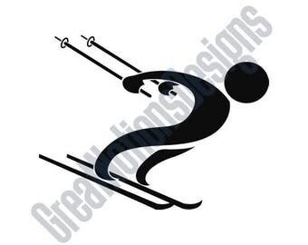 Downhill Skier - SVG - HTV - Vinyl Cutting Graphic Art