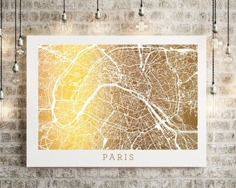 Paris Map Gold Foil Art, Urban Art Gold Print Street Map, Wall Decor with Real Gold Foil on 65lb cardstock, France