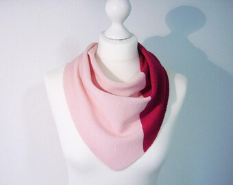 Scarf 100% Merino extrafine 2-colored pink and Berry fine knit
