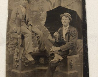 Two Guys and a Broom:  Antique Tintype Photograph of Two Men, One with an Umbrella and One With a Broom
