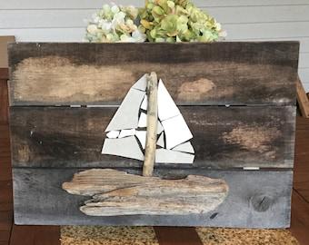 Pallet Driftwood Sailboat Art Nautical Sailing Coastal