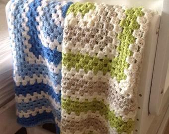Baby blanket, Fine Square Crochet Handmade Baby Blanket, green baby blanket, neutral baby blanket, newborn blanket, baby shower gift