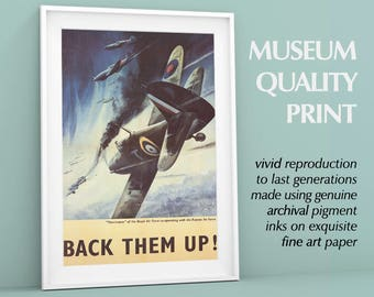 "Back Them Up! World War II Print | Poster, War Propaganda, Agitprop | ""Hurricanes co-operating with the Russian air force."""