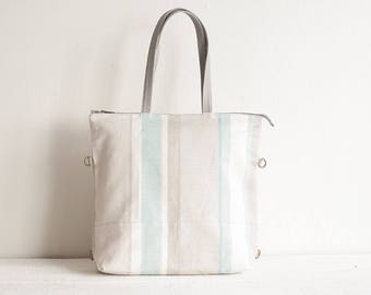 Linen and Leather Tote Bag, Linen Tote Bag, Diaper Backpack, Convertible Bag, Diaper Tote Bag, Zipper Tote Bag, Linen Bag, Diaper Bag, Gifts