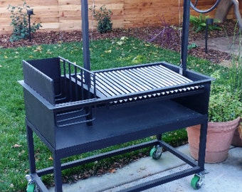 The Ash | Argentine Grill with Side Brasero plus cart for wood or charcoal grilling | 48 X 24 X 12 | Free Shipping*