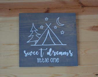 Sweet Dreams Little One Camping Wood Sign Nursery Decoration Wood Calligraphy Quote Sign Baby Shower Gift