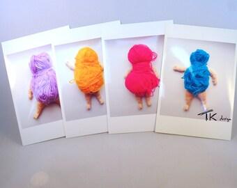 Photos de collection, lot de 4 photos déco, personnages pelote, déco textile, art textile, poupée laine, art textile