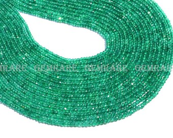Natural Green Onyx Roundel Faceted Beads, Quality AAA, 2.50 to 2.80 mm, 36 cm, 206 pieces, GR-001/1, Semiprecious Gemstone beads