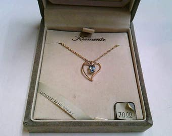 Vintage Krementz 14K Gold Overlay Heart and Genuine Blue Topaz Pendant and Chain Necklace