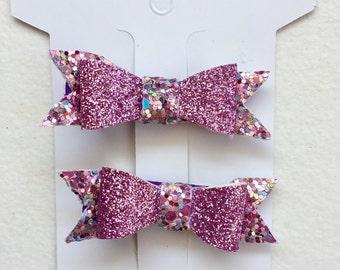 Mini purple sparkle clips