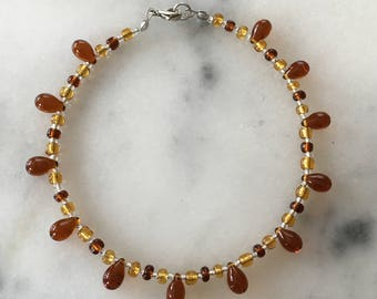 Amber and Honey Moonstone Anklet
