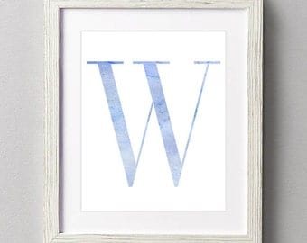 Letter W | Nursery Print | Nursery Art | Alphabet | Instant Download | Digital Print | Wall Art | Baby Boy | Initials | Blue | Watercolor