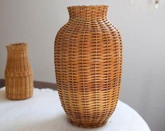 Vintage Woven Jar, Vintage Rattan Jar, Vintage Rattan Vase, Vintage Wicker Vase, Vintage Basket, Woven Vase, Mid Century Rattan Pottery Vase