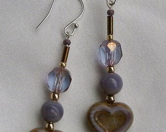 Elegant lilac/ crystal drop earring.