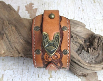 Cuff Bracelet, upcycled, recycled, leather bracelet, leather cuff