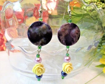 Cottage Chic Yellow Rose and Purple Spring Dangles, Drop Beaded Earrings with Fish Hooks