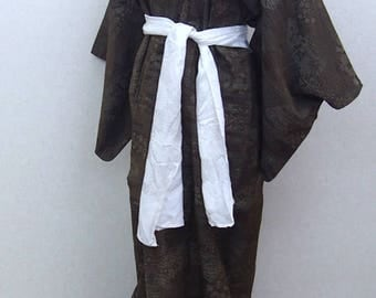 Brown  used kimono robe / Japanese traditional  vintage  kimono robe