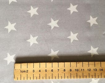 Grey with a white star Fabric 100% Cotton