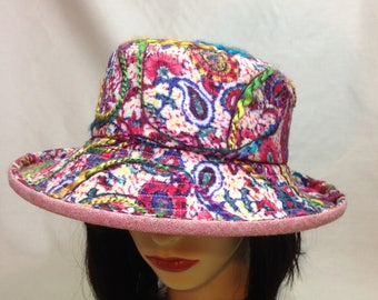 Bohemian Paisley Embellished Cotton Cloche Summer Hat